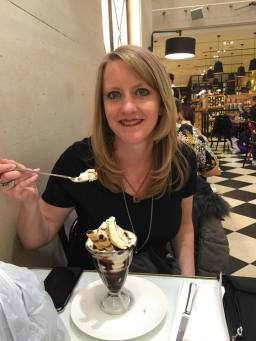 Mom enjoying her ice cream at Dolly's