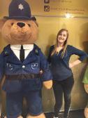 Mady and giant teddy bear police officer!