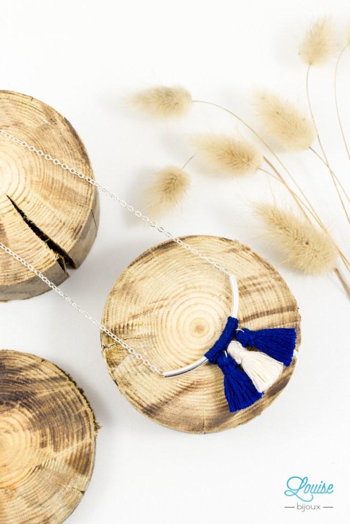 Bijoux createur fantaisie - Collier pompons tube argent-7