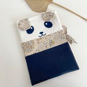 protege carnet de sante panda bleu marine