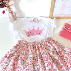 Tenue anniversaire fillette, t-shirt personnalisé et jupe liberty