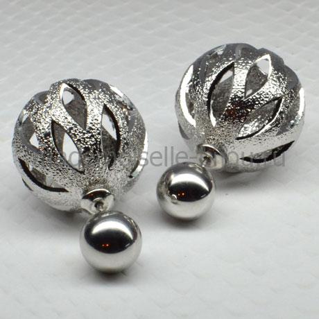 Серьги резные с серебристым шариком Royal Silver Rock