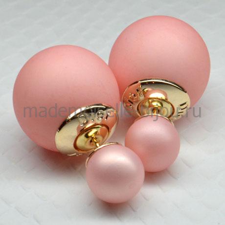 Серьги шарики розовые матовые Fashion Rosy Matt