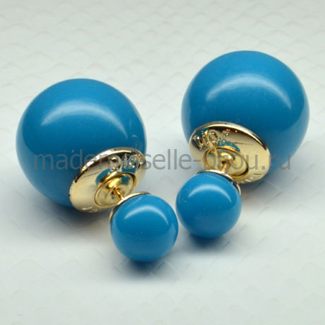 Серьги шарики голубые Fashion Deep Blue