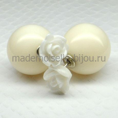 Серьги шарики Fashion La Perla White Rose