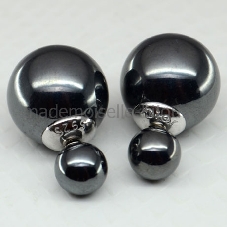 Серьги шарики серебро Premium La Perla Negro Lux 925 черный жемчуг.