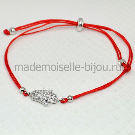 Браслет красная нить Рука Хамса от сглаза (серебро)