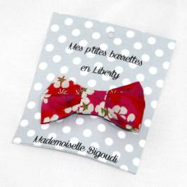 Mes petites barrettes de Mademoiselle Bigoudi/ pince crocodile Liberty Mitsy rouge