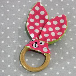 Anneau de dentition oreille de lapin pois rose / handmade pink dots teething ring