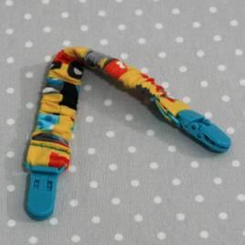 Clip attache bavette/serviette/doudou thème tracteur jaune
