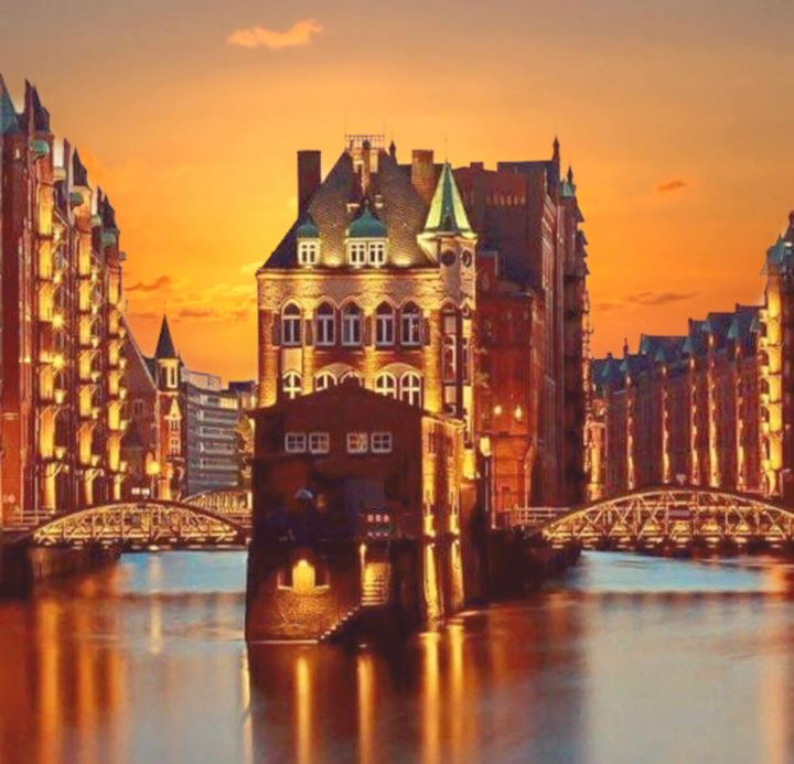 Amburgo, Europa in Autunno. Speicherstadt al tramonto