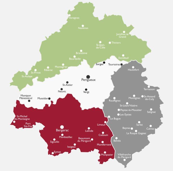 Dordogna cosa vedere: la mappa delle zone