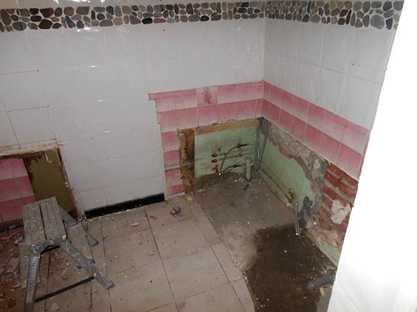 Ca, c'était ma salle de bain. Le mur à droite va être abattu et à gauche sera remplacé par une baie vitrée.