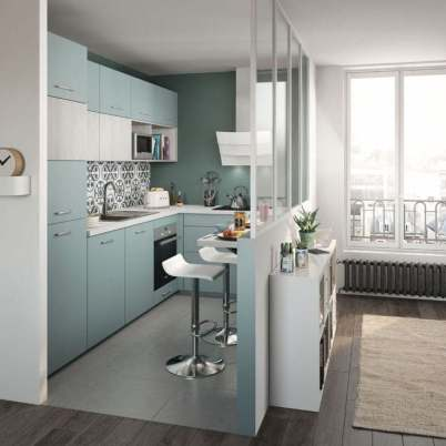 Décoration petite cuisine bleue