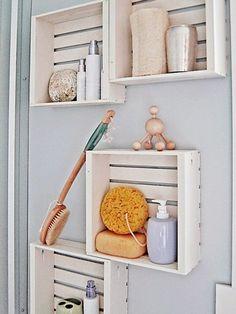 Rangement caisses salle de bain