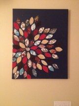fabric flower on canvas