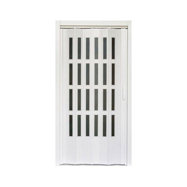 Puerta plegable blanca de vidrio