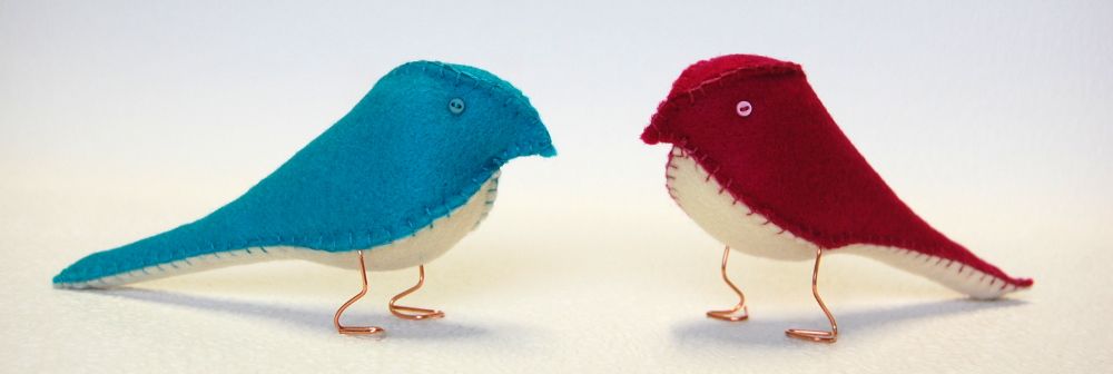 Little blue and red love birds