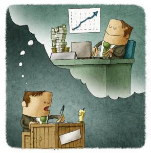 illustration of man thinking in his future business