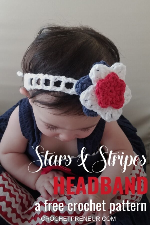 A free pattern for how to make a baby headband for summer. This little headband is tied with a bow in the back and has layered stars on top. It
