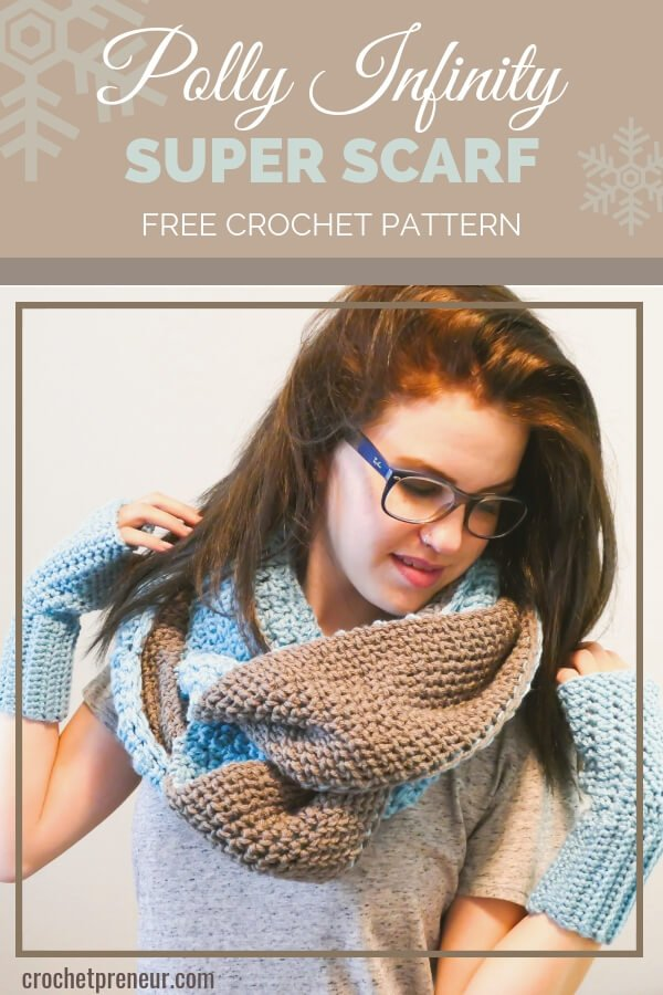 Soft, Reversible, Amazing! This Polly Infinity Super Scarf Crochet Pattern is easy enough for an adventurous beginner and creates a warm winter scarf that gets all the fashion points this season. It