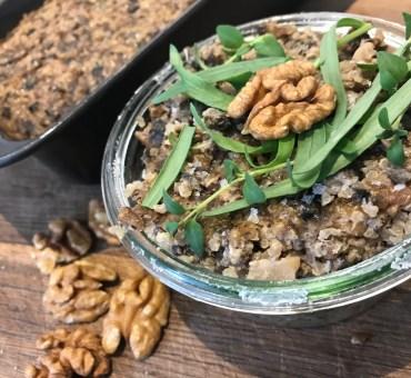 Svampepaté med valnødder, quinoa og estragon