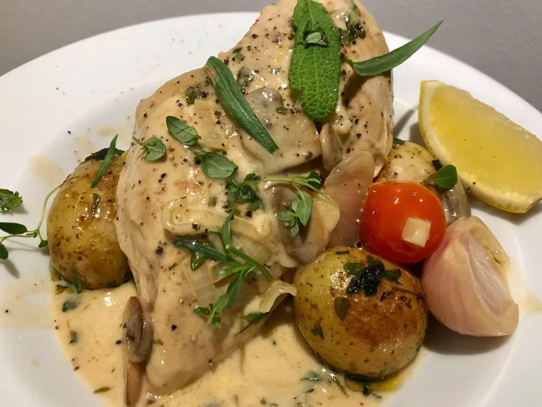 Kylling i marsalasauce med svampe og løg