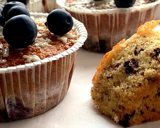 Muffins med chokolade og blåbær – klassens blåffins