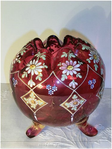 MOSER RED ENAMELED FOOTED GLASS BOWL