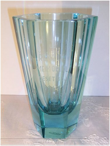 MOSER TURQUOISE CUT-FACETED GLASS VASE