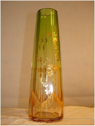 MOSER CLEAR TO GREEN CUT FACETED CRYSTAL VASE WITH GOLD DECOR