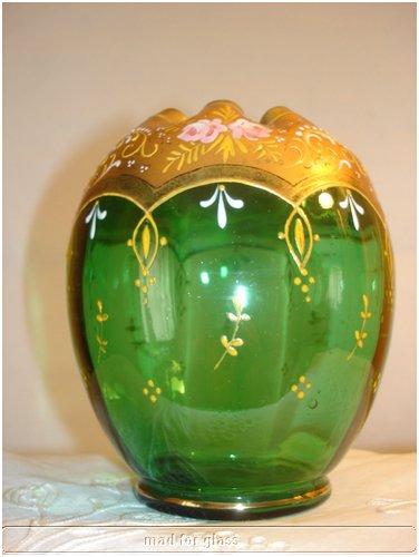 MOSER GREEN ENAMELED GLASS BOWL