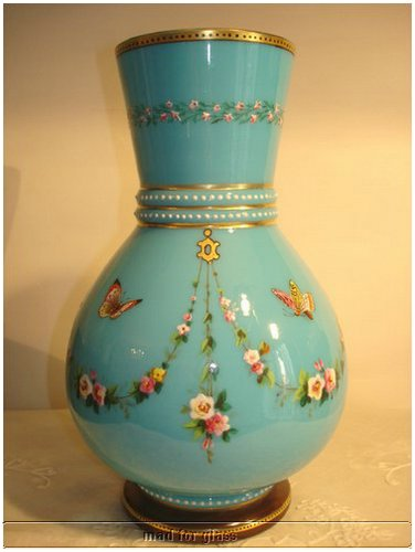 BIEDERMEIER OPALINE BLUE VASE WITH ENAMELED AND GOLD PAINTING, POSSIBLY BY HARRACH GLASS FACTORY