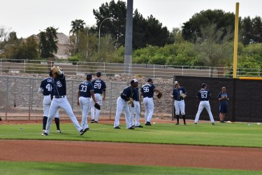 Padres pitching coordinator Eric Junge in Peoria, AZ