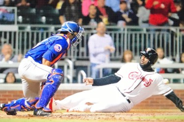 Padres prospect Franmil Reyes slides home for the El Paso Chihuahuas