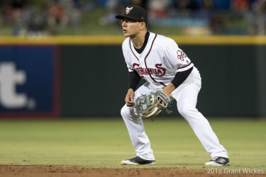 Padres prospect Luis Urias in the field for El Paso Chihuahuas