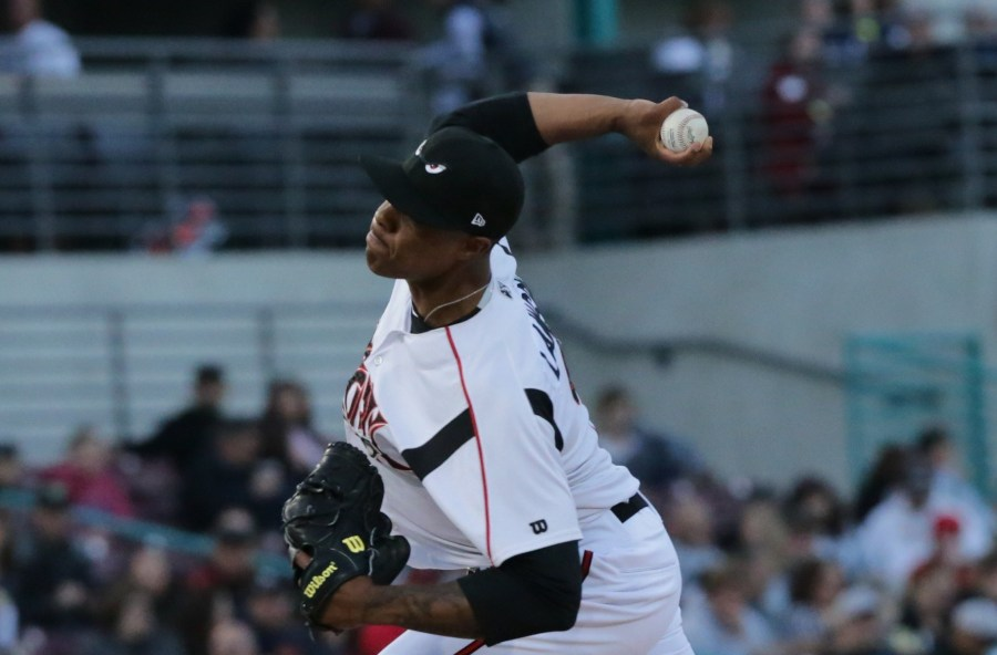 Padres pitching prospect Reggie Lawson with Lake Elsinore Storm