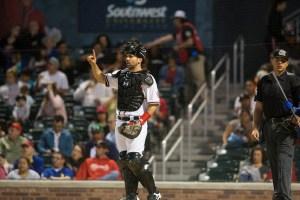 Padres prospect Brett Nicholas catching for the El Paso Chihuahuas