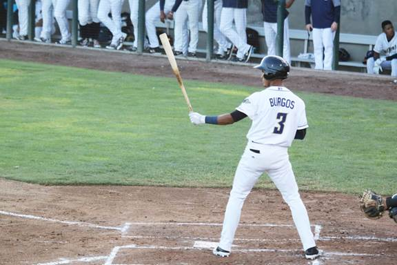 San Diego Padres prospect Aldemar Burgos batting for Tri-City Dust Devils