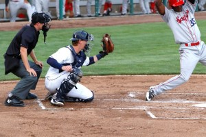 San Diego Padres prospect Blake Hunt receives a pitch for Tri-City Dust Devils