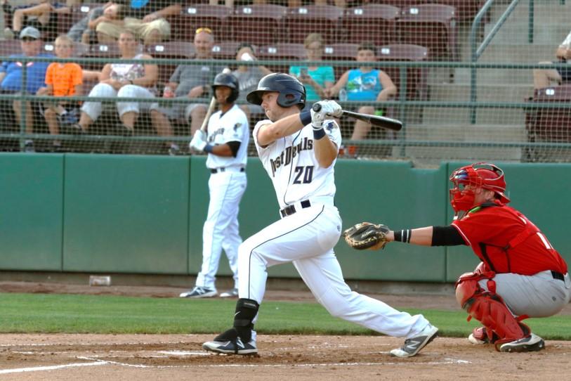 Padres prospect Owen Miller bats for the Tri-City Dust Devils