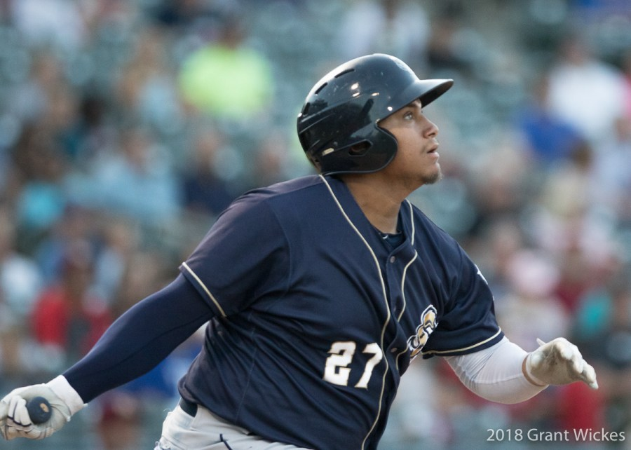 Padres prospect Josh Naylor bats for San Antonio Missions.