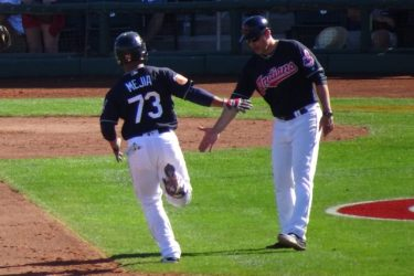 Francisco Mejia celebrates with the Indians in spring training