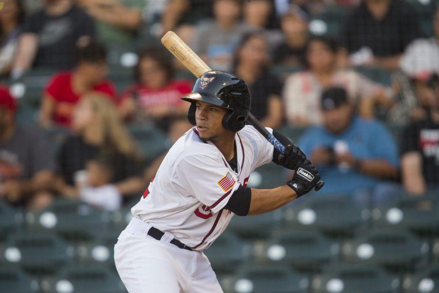 Padres catcher Francisco Mejía bats for El Paso Chihuahuas