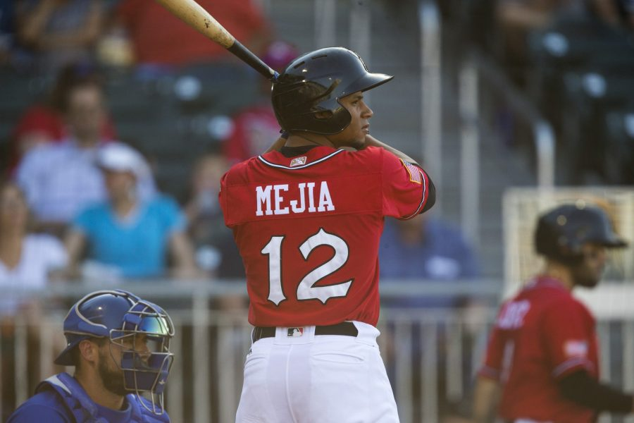 Padres catching prospect Francisco Mejia with El Paso Chihuahuas.