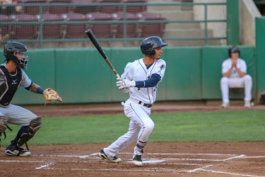 Tucupita Marcano, San Diego Padres prospect batting for Tri-City Dust Devils