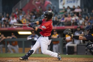 Padres prospect Esteban Quiroz bats for El Paso