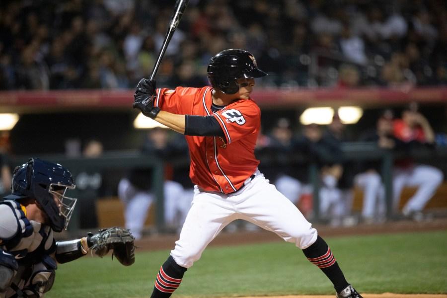 Padres infield prospect Luis Urías bats for El Paso.