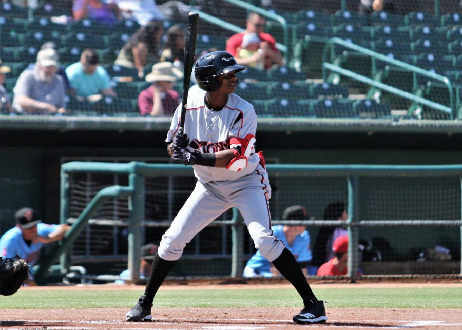 Padres prospect Esteury Ruiz at bat for Lake Elsinore Storm
