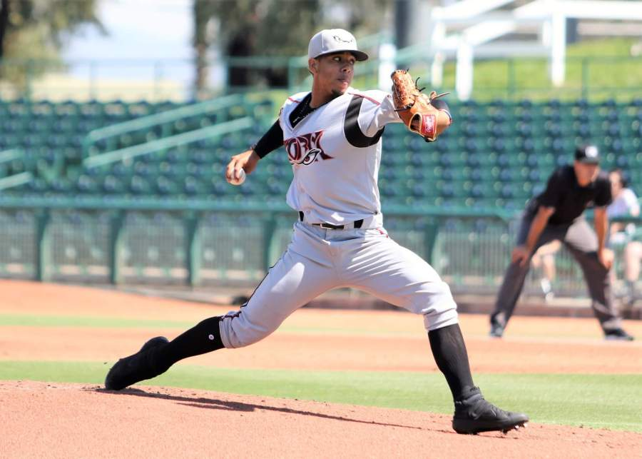 Padres pitcher Luis Patiño delivers for Lake Elsinore Storm